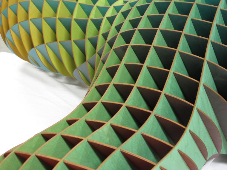 Laser Cut Sculpture Art Color Printed Close Up Green
