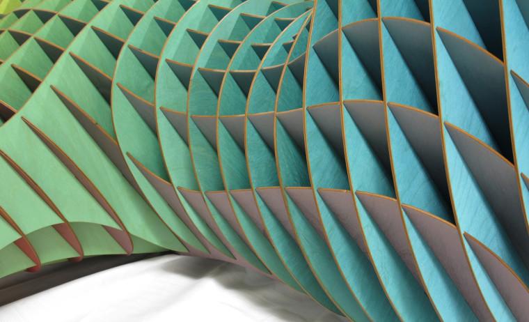 Laser Cut Sculpture Art Color Printed Close Up Blue