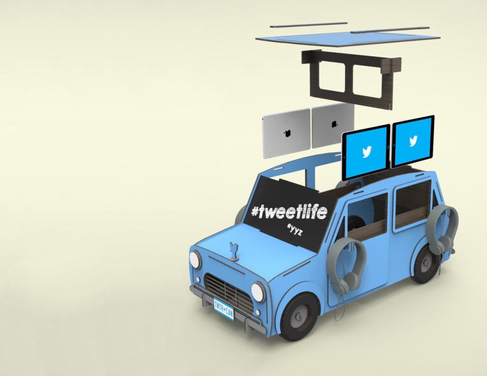 Twitter Car Laser Cut Media Kiosk