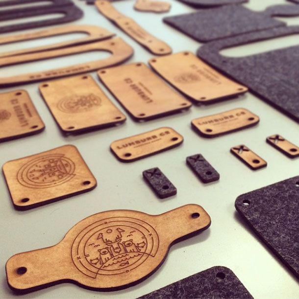 Laser engraved leather tags