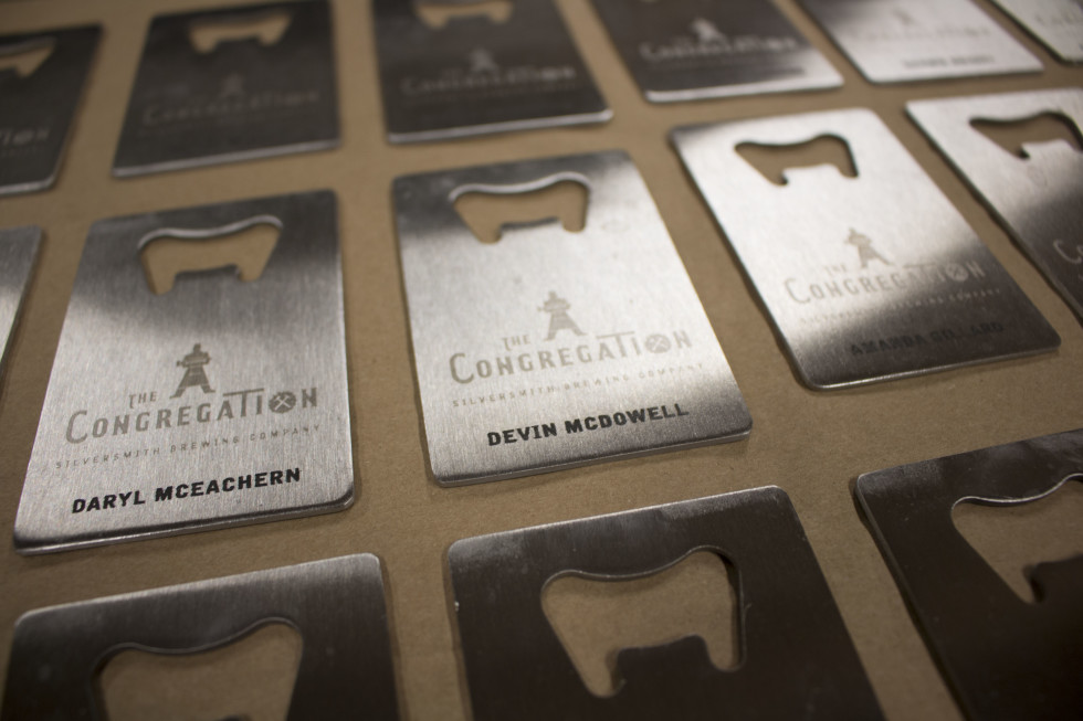 laser engraved metal business card