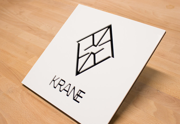 acrylic laser cut sign for Krane