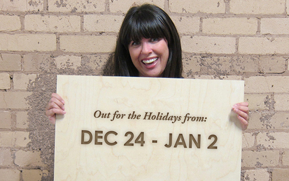 laser engraved holiday hours sign