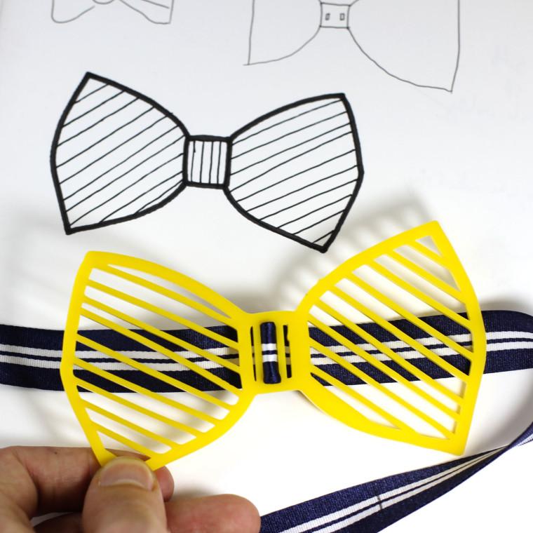 hand sktech and laser cut bowtie