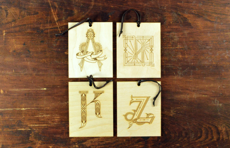laser cut engraved monogrammed tag initial fancy letter