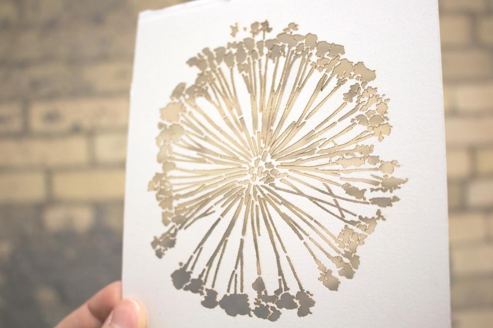 laser cut stencil flower art watercolor