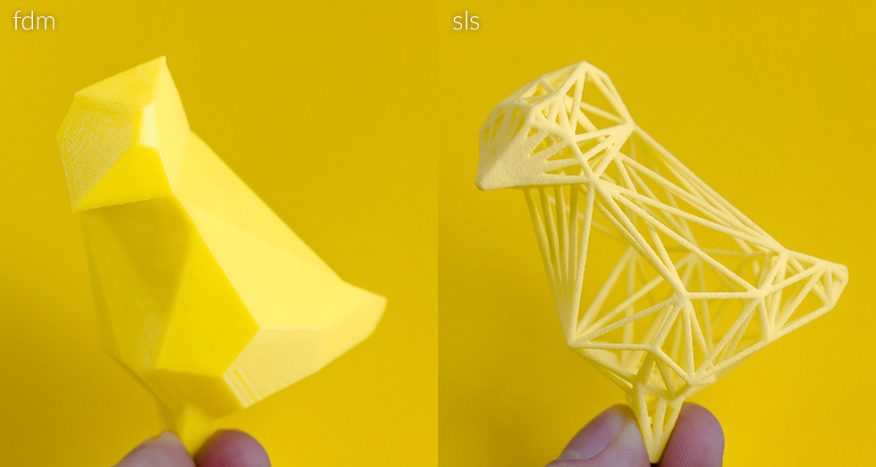 3d print printing sls fdm complexity yellow bird wishing
