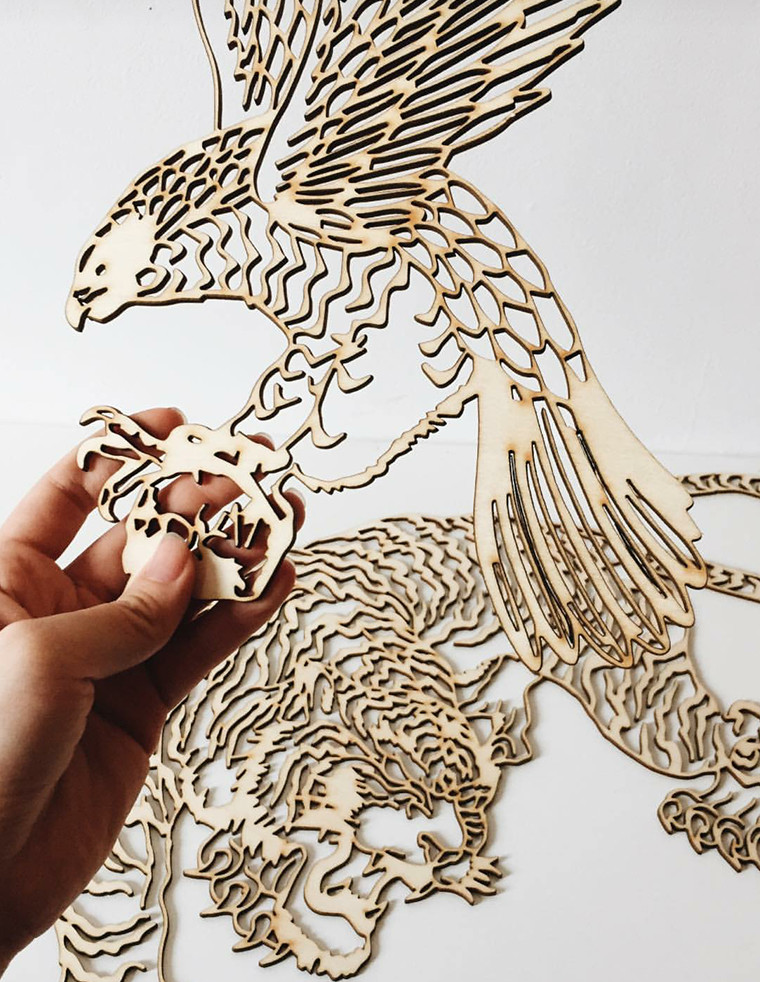 Lasercut Bird - photo by xliangdesign